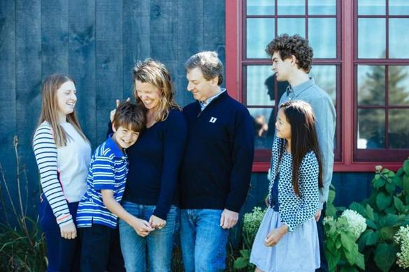 The author with her family. From left: Lily, 14; Wyatt, 12; the author; her husband, Rob; Rory, 12; and Sam, 17.