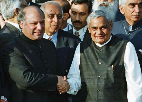 Mr. Vajpayee (right) met Pakistani President Nawaz Sharif during peace talks in 1999. Mr. Vajpayee oversaw an end to India's nuclear test moratorium, but also pursued peace.