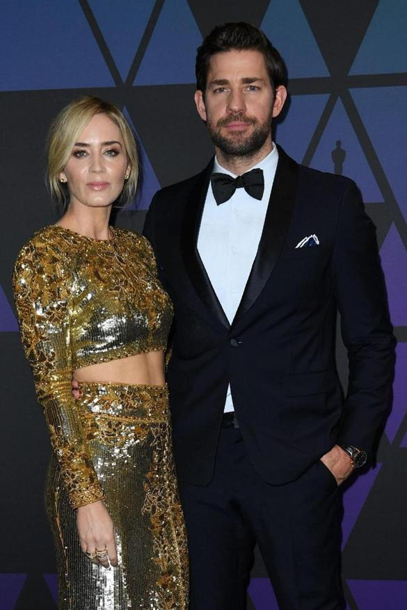 British actress Emily Blunt and US actor John Krasinski (R) attends the 10th Annual Governors Awards gala hosted by the Academy of Motion Picture Arts and Sciences at the the Dolby Theater at Hollywood & Highland Center in Hollywood, California on November 18, 2018. (Photo by VALERIE MACON / AFP)VALERIE MACON/AFP/Getty Images
