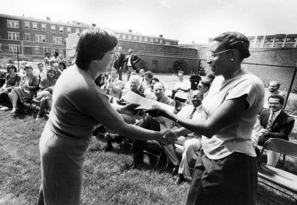 Ms. Anthony (left) presented an award in Roxbury in 1984, when she was the state's secretary of communities and development.