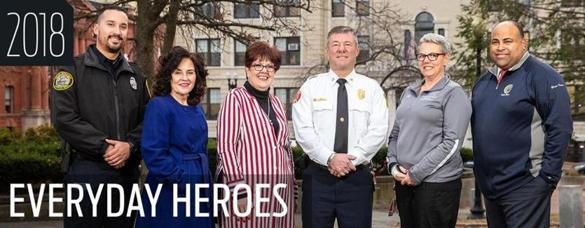 Ivan Soto; Rosemary Smedile; Martha Velez; Fire Chief Brian Moriarty; Kim Moriarty; and Mayor Dan Rivera in front of Lawrence City Hall.