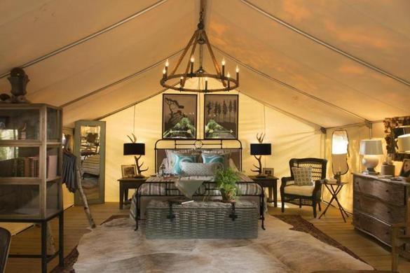 "A Wanderlust ""glamp tent"" at Sandy Pines."