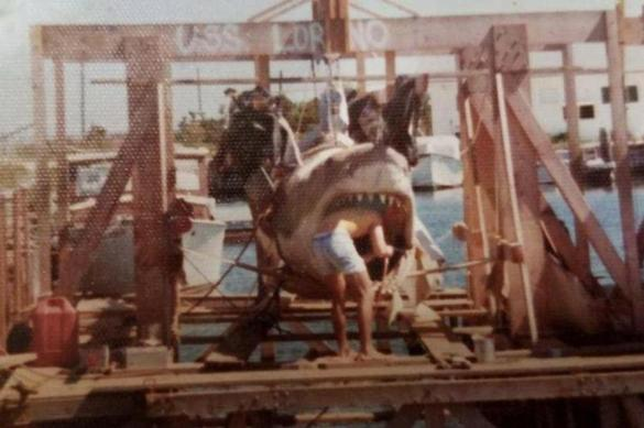 A technician working on the animatronic shark in 'Jaws' in 1974.