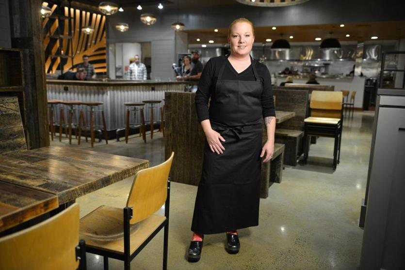 Tiffani Faison, chef and co-owner of Tiger Mama, in the dining area of the soon-to-open Fenway restaurant. Josh Reynolds for The Boston Globe (Lifestyle, baskink)