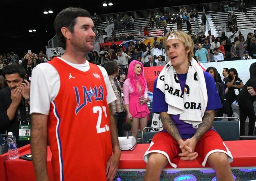 Justin Bieber and Bubba Watson played in the NBA All-Star Game Celebrity Game at Los Angeles Convention Center on Friday night.