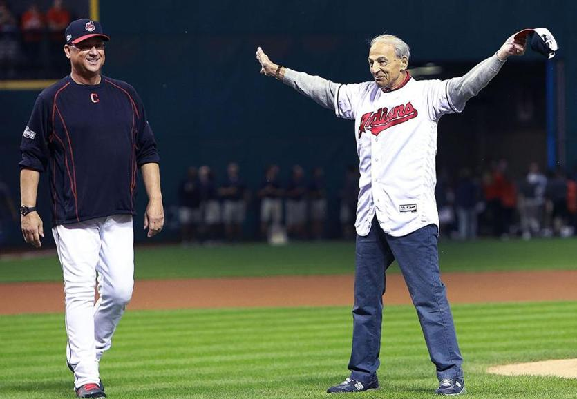 Terry Francona (left) with his father, Tito, before an ALDS game at Cleveland's Progressive Field in 2016.
