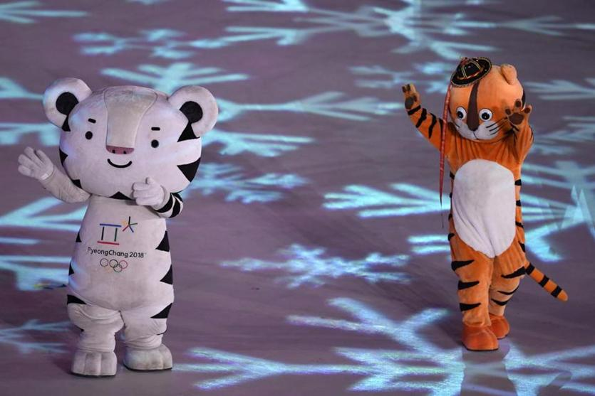 PyeongChang 2018 mascots dance during the Closing Ceremony of the 2018 Winter Olympic Games