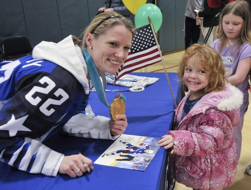 lympian Kacey Bellamy greeted fans and signed autographs in Westfield.