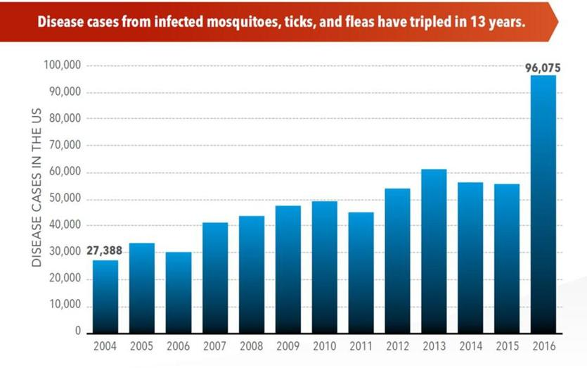Diseases from ticks, fleas, mosquitoes soar in US