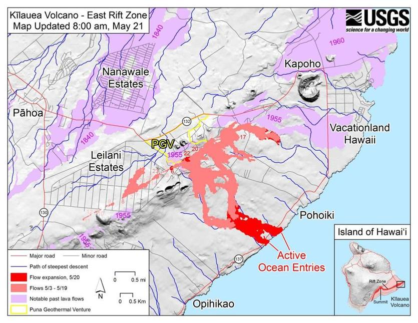Kilauea lava flows threaten geothermal power plant