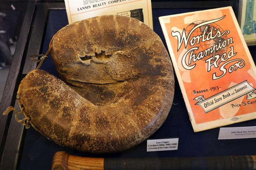 A catcher's mitt used by Lou Criger from 1901 to 1908 on display at Fenway Park.
