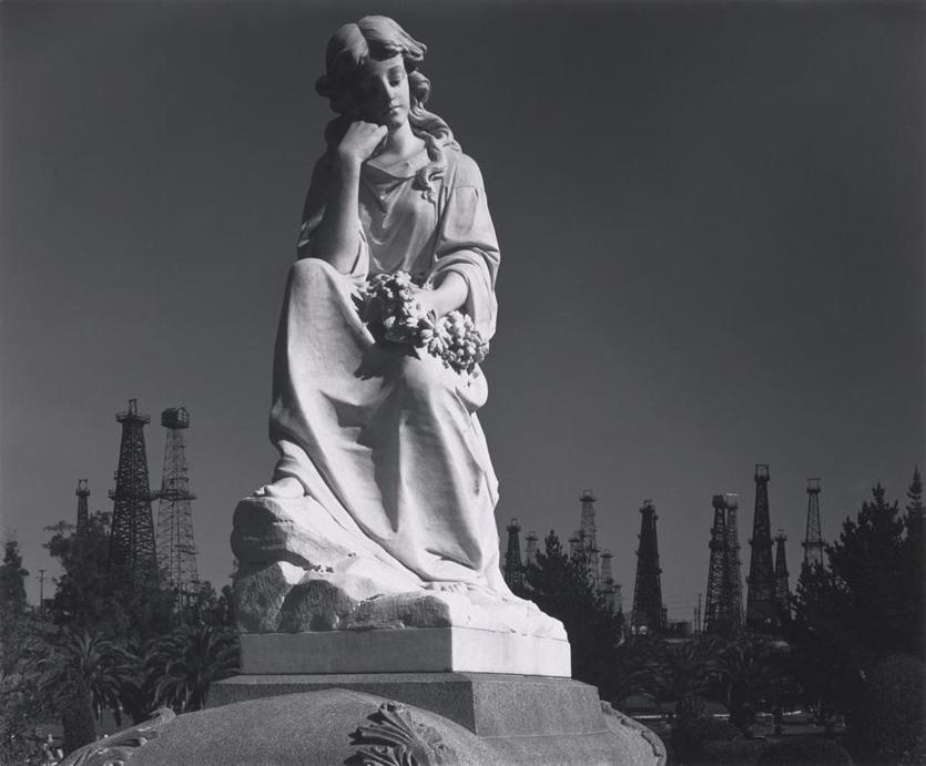 "Ansel Adams's ""Cemetery Statue and Oil Derricks, Long Beach, California"" will be included in ""Ansel Adams in Our Time"" at the Museum of Fine Arts Dec. 13-Feb. 24."