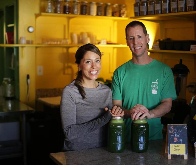 12/07/2018 Hingham Ma- Sheree McCormick (cq) left and her brother Shawn ,at their business Green Light Juice Bar in Hingham. Jonathan Wiggs /Globe Staff Reporter:Topic:
