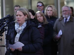 Taunton, MA, 02/11/2019 -- Conrad Roy III's aunt Becky Maki speaks to reporters outside of Taunton Trial Court after a judge ordered Michelle Carter to serve her prison sentence in the case of Commonwealth vs. Michelle Carter. (Jessica Rinaldi/Globe Staff) Topic: 12carterpic Reporter: