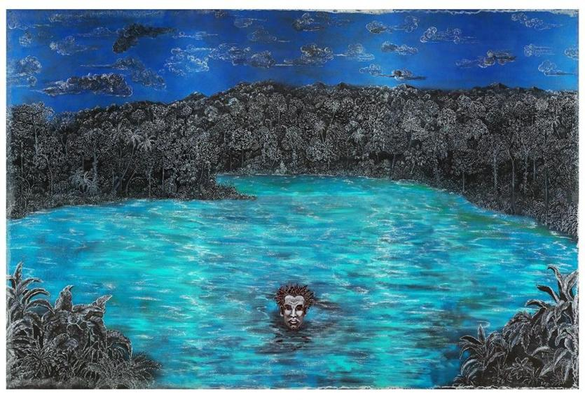 Relational Undercurrents: Contemporary Art of the Caribbean Archipelago at the Portland Museum of Art. Caption: Edouard Duval-Carrie, (Haiti, born 1954), Lost at Sea / Perdido en el mar,, 2014, mixed media on aluminum, 96 x 144 inches. Courtesy of the artist. © Edouard Duval-Carrie