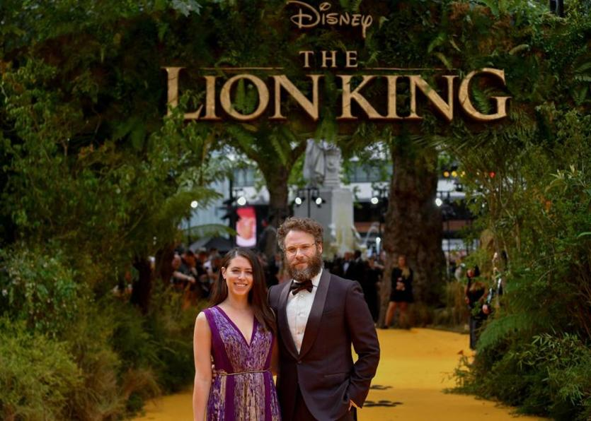 "LONDON, ENGLAND - JULY 14: Lauren Miller Rogen and Seth Rogen attend the European Premiere of Disney's ""The Lion King"" at Odeon Luxe Leicester Square on July 14, 2019 in London, England. (Photo by Gareth Cattermole/Getty Images for Disney)"