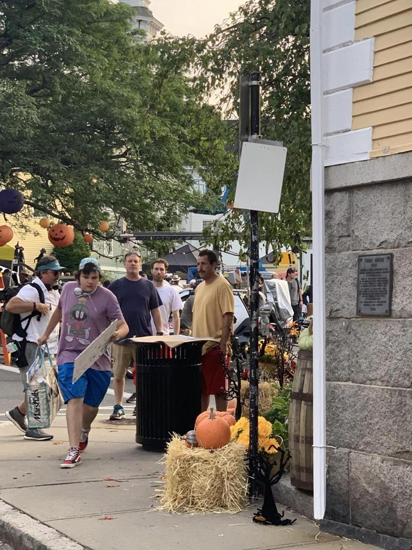 "Actor Adam Sandler outside of the Old Town Hall in Marblehead, MA, where he is filming his latest Netflix film ""Hubie Halloween."" (Derrick Mills) 17Names Sandler"