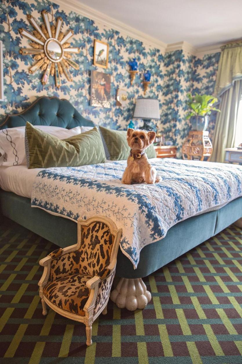 "Alex Papachristidis's dog Teddy uses an antique miniature chair to help get on the bed - from Susanna Salk's book ""At Home With Dogs and Their Designers."" MUST CREDIT: Stacey Bewkes"