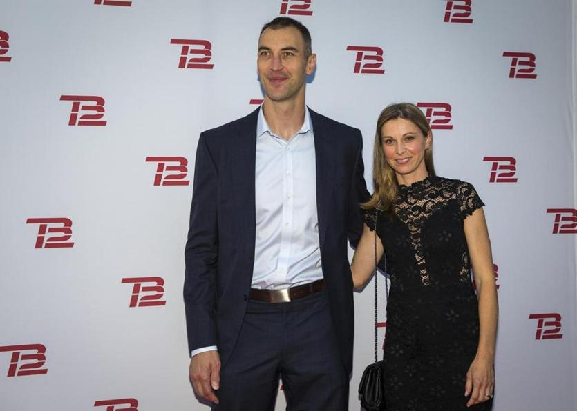 Boston, MA - 9/17/2019 - Boston Bruins defenseman Zdeno Chara, left, and Tatiana Biskupicova pose during the TB12 Grand Opening Event at the TB12 Performance & Recovery Center in Boston, Mass. on Tuesday, Sept. 17. (Nic Antaya for The Boston Globe) Topic: 18TB12photos