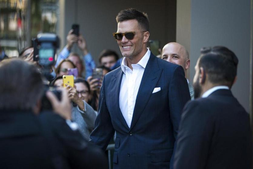 Boston, MA - 9/17/2019 - Tom Brady looks on during the TB12 Grand Opening Event at the TB12 Performance & Recovery Center in Boston, Mass. on Tuesday, Sept. 17. (Nic Antaya for The Boston Globe) Topic: 18TB12photos