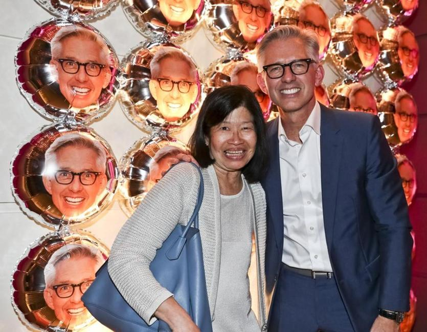 "Boston MA 10/15/19 Vivien Li with Bryan Rafanelli in front of his baloon wall during a party celebrating the release of his book, ""A Great Party,"" at the Revere Hotel. (photo by Matthew J. Lee/Globe staff) topic: 16Rafanelliparty reporter:"