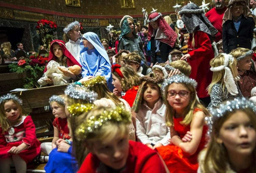 Children participated in the Nativity scene during the Christmas Eve service at Trinity Church in Boston.