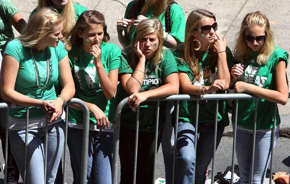 A group of shamrock-clad girls turned out to celebrate the Celtics parade.