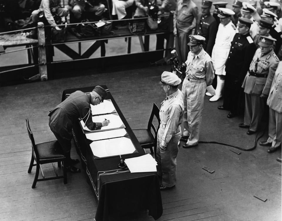 On Sep. 2, 1945, US General Douglas MacArthur accepted the unconditional surrender ofJapan.