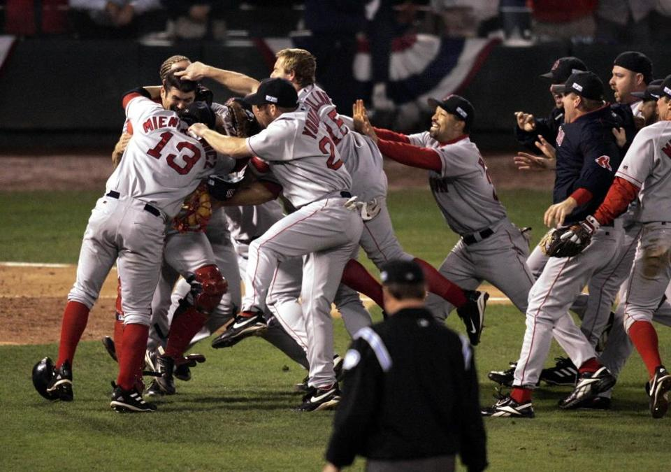 The Red Sox celebrated a World Series championship for the first time in 86 years when they closed out the Cardinals in four games.