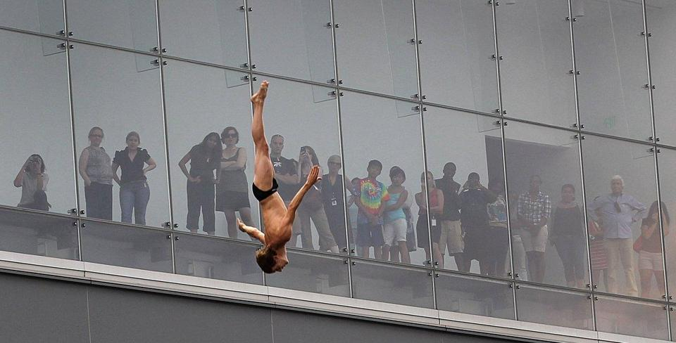 Gary Hunt dove from the Institute of Contemporary Art on Thursday, practicing for this weekend's Red Bull Cliff Diving competition.