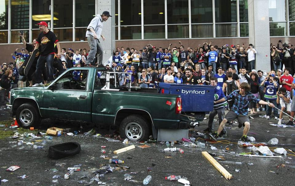 Fans rioted in Vancouver after the Bruins defeated the Canucks in Game 7 of the Stanley Cup Finals.