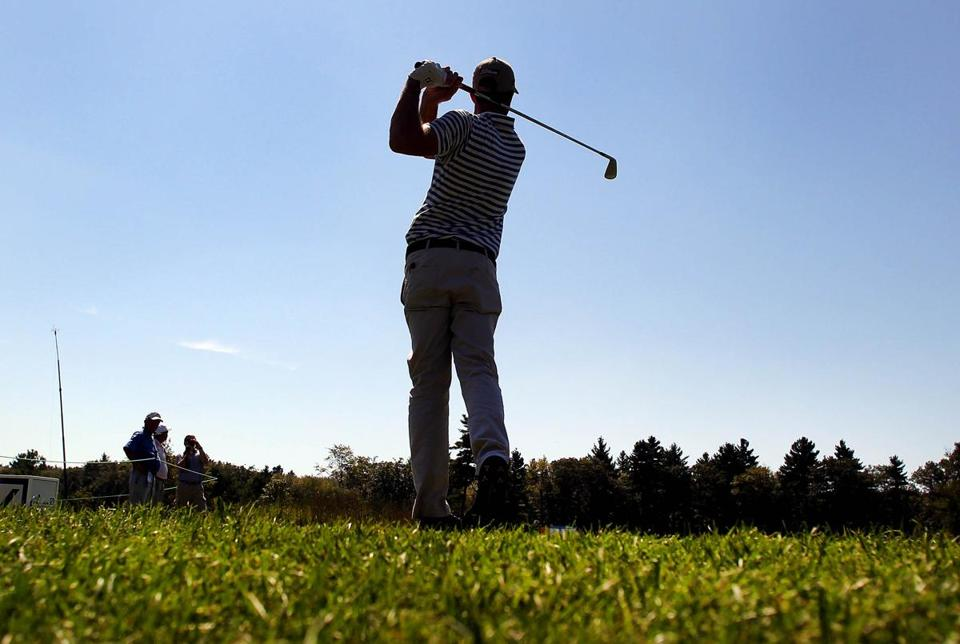 Geoff Ogilvy tees off on the third hole at TPC Boston during a practice round on Wednesday.