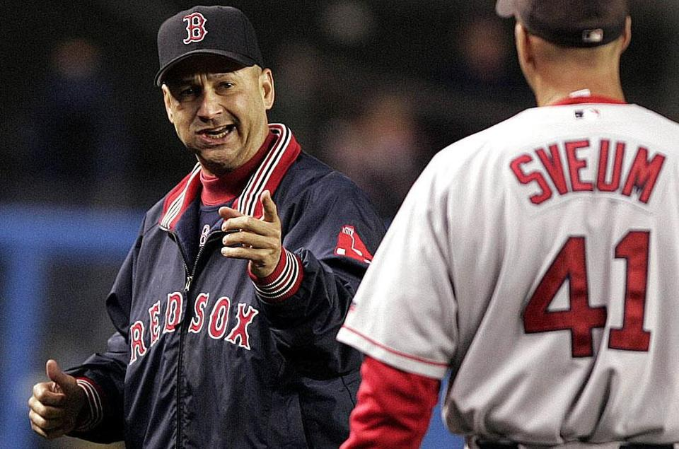 Terry Francona, in his first year as Red Sox manager, led the team to overcome a three-game playoff deficit to the Yankees and then on to a World Series title.