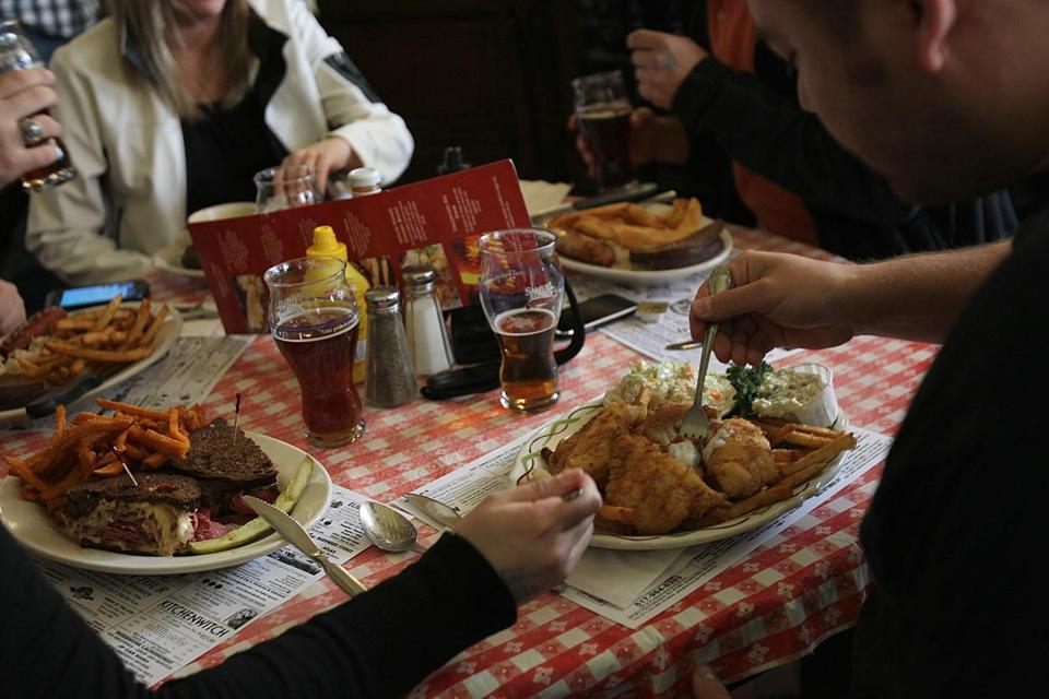 Jamaica Plain, MA., 09/16/11, The fish and chip dish at Doyle's Cafe. For story on labeling of fresh fish. Section; Health and Science, Reporter: jenn Abelson. Suzanne Kreiter/Globe staffJamaica Plain, MA., 09/16/11, The fish and chip dish at Doyle's Cafe. For story on labeling of fresh fish. Man eating the fish is Jim Akiba, cq. Section; Health and Science, Reporter: jenn Abelson. Suzanne Kreiter/Globe staff