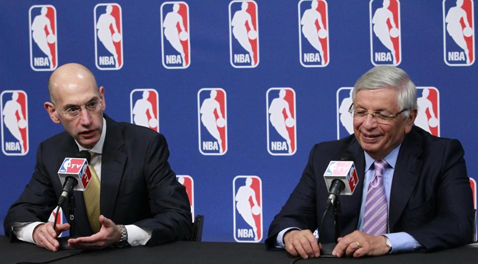 Adam Silver, left, deputy commissioner and chief operating officer for the NBA, and commissioner David Stern.