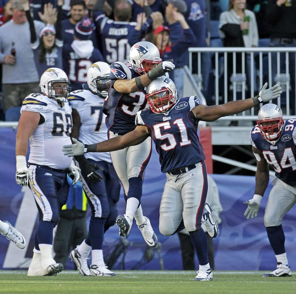 Jerod Mayo (51) and the Patriots made enough plays to sew up a win against the Chargers yesterday.