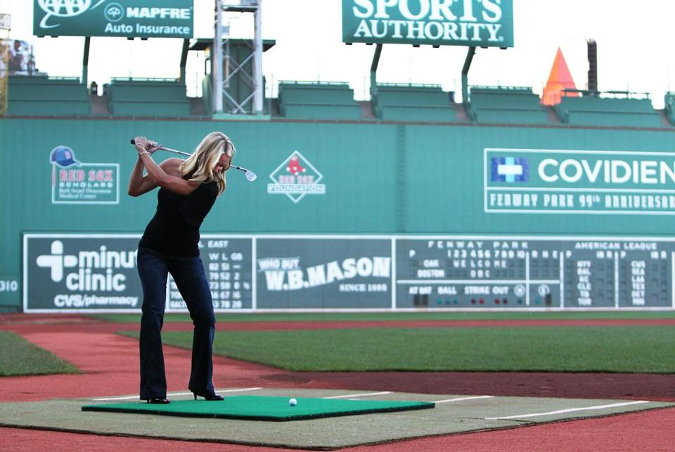 "Heidi Watney, NESN personality, at the ""Chipping In for the         Red Sox Foundation"" event at Fenway Park, Aug. 29, 2011 -- ""I         was the emcee. I was not supposed to be golfing. I told them I         do not want to golf because my game is so terrible. I should not         do it in front of people. And yet Jim Rice put me on the spot,         handed me a club, and said, 'You're going to hit a stroke.' I         don't think there's ever been someone golfing in high heels at         home plate at Fenway. I have no idea what club this is. I'm not         athletic. I got up there and hit a really terrible shot. I've         only golfed with [cousin] Nick maybe once. What am I thinking?         Make contact with the ball. I'm thinking I'm going to kill Jim         for this. I'm in high heels. Please don't fall on my butt.'"""