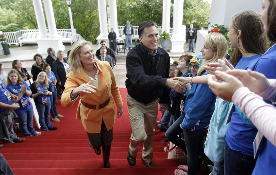 Republican presidential candidate and former Massachusetts Gov. Mitt Romney and his wife Ann arrive at the Republican Leadership Conference at the Grand Hotel on Mackinac Island, Mich., Saturday, Sept. 24, 2011. (AP Photo/Carlos Osorio)