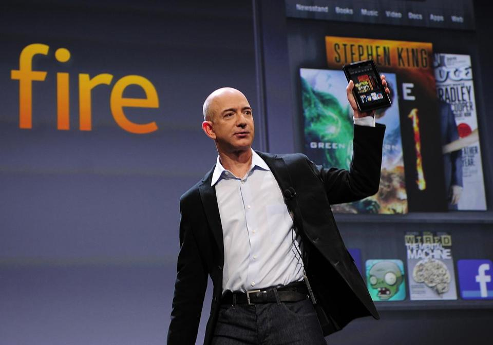 Amazon CEO Jeff Bezos introduced the Kindle Fire tablet at a New York event in September.