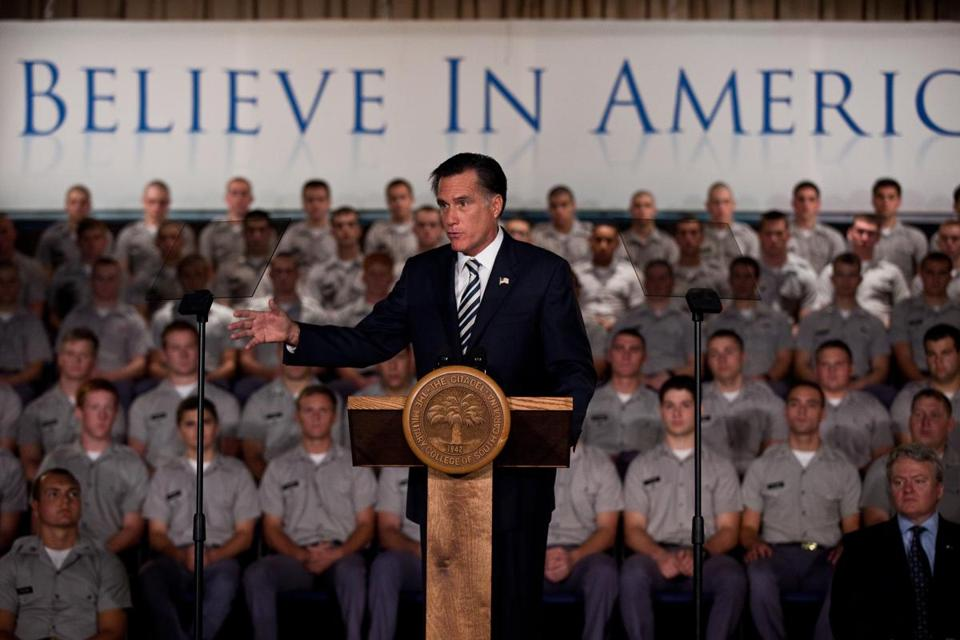 Republican presidential candidate Mitt Romney delivered his first major foreign policy address to cadets at The Citadel in Charleston, S.C., yesterday. In his speech, Romney accused President Obama of damaging US credibility and global standing.