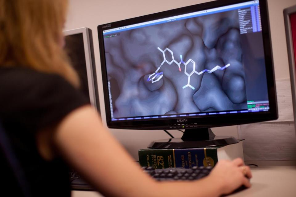 Details of a drug called ponatinib, which treats a form of leukemia, was diplayed on a computer screen at Ariad Pharmaceuticals.