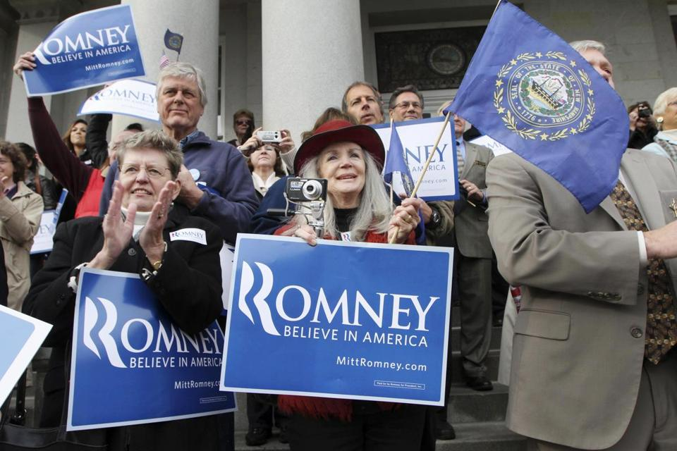 Supporters cheered Mitt Romney at a rally in Concord, N.H., late last month.