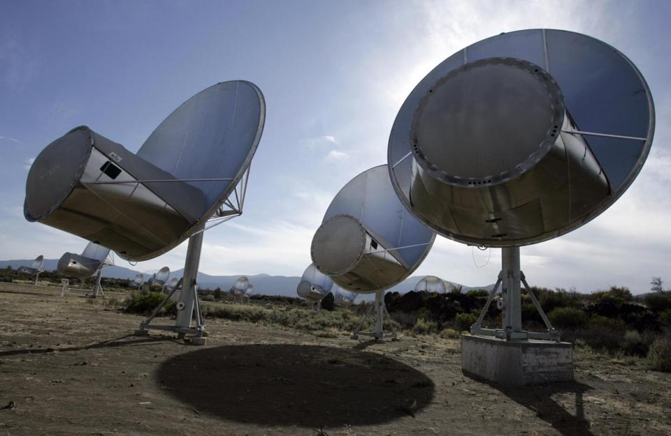 An Oct. 9, 2007 file photo shows radio telescopes of the Allen Telescope Array are seen in Hat Creek, Calif. The telescopes sought signs of intelligent life in the universe.