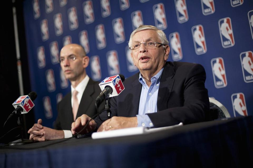 NBA commissioner David Stern (right) spoke to reporters after taking part in contract negotiations.