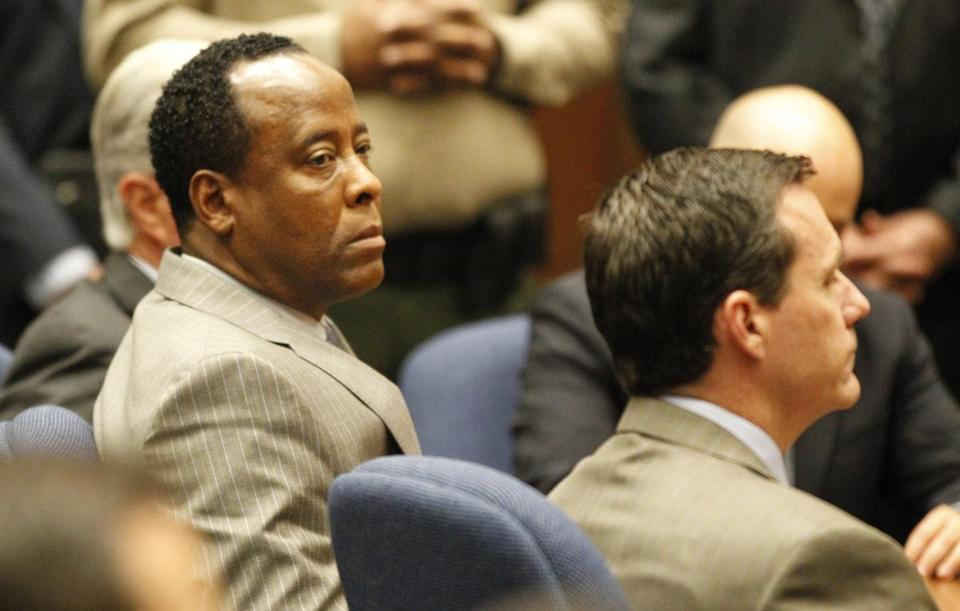 Dr. Conrad Murray listened as the jury returned with a guilty verdict in his involuntary manslaughter trial on Nov. 7, 2011 in a Los Angeles courtroom.