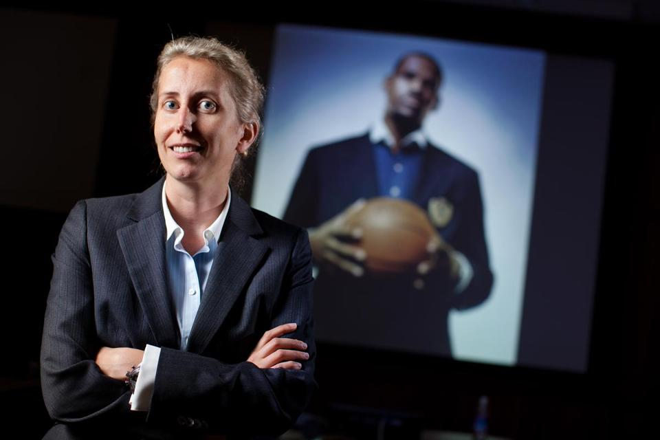 11/07/11 - Cambridge, MA - Professor Anita Elberse, cq, features a case study of LeBron James and other celebrities in a course she teaches at Harvard Business School. Story by Shira Springer/Globe Staff. Topic: Harvard Business School. Dina Rudick/Globe Staff.