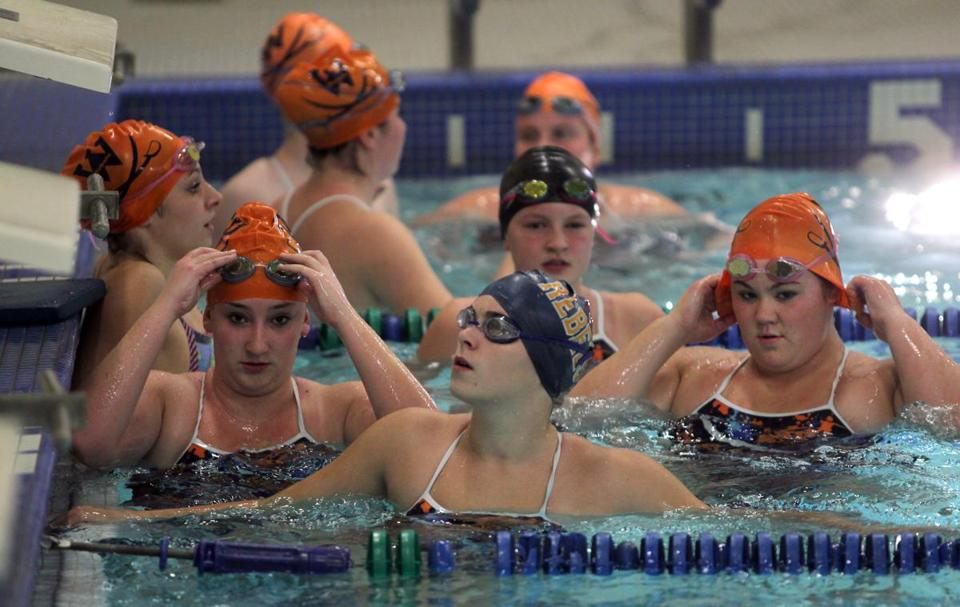 Canton, MA - 11-09-11 - Members of the Walpole High School swim team practice at the Blue Hill Regional Technical School.(Globe staff photo / Bill Greene) section:sowk, reporter:casey, topic:13soswim