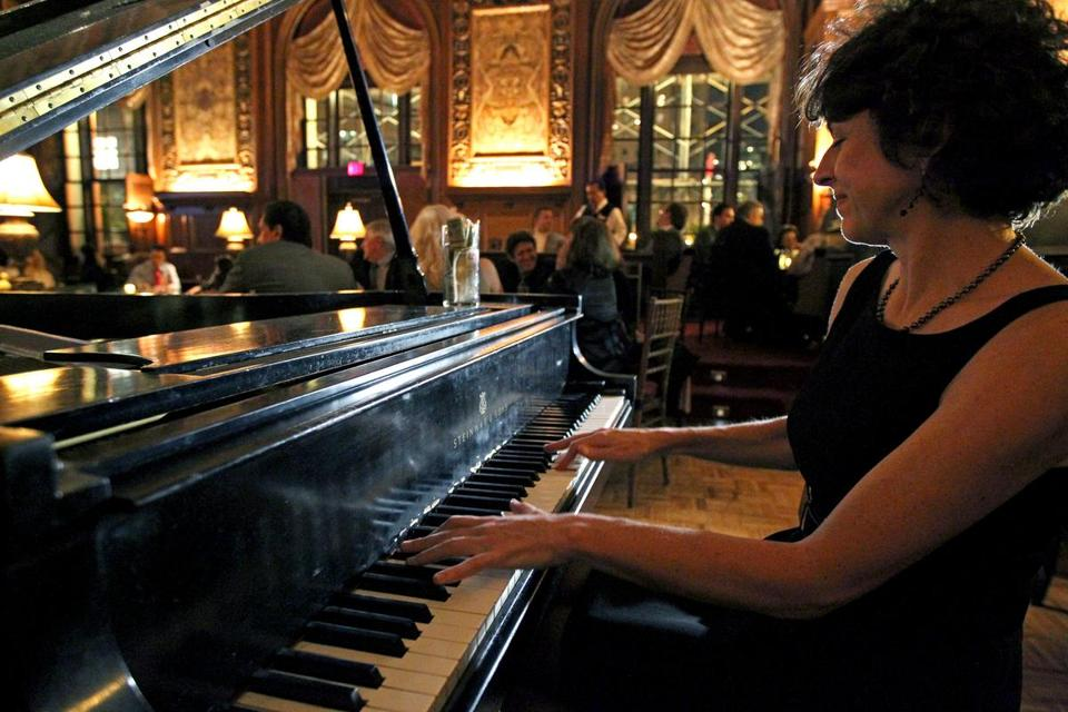 Jane Potter, a Berklee College of Music professor, shares a thrice-a-week gig at the Fairmont Copley Plaza's Oak Bar, the last vestige of Boston's piano bar scene.