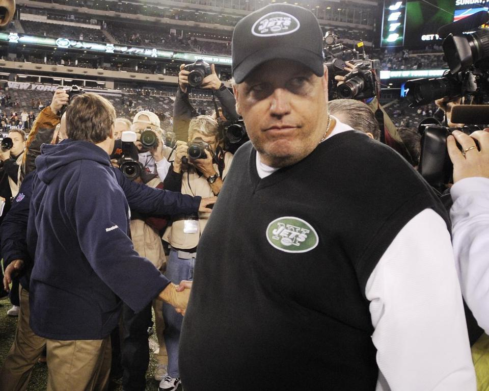 New York Jets head coach Rex Ryan walked off the field after losing to Bill Belichick and the Patriots.