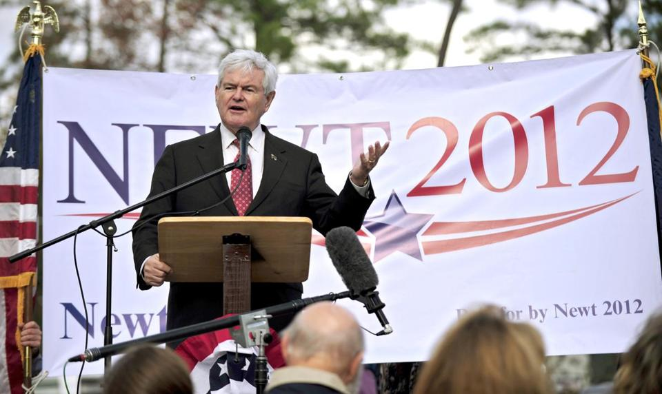Republican presidential candidate, former House Speaker Newt Gingrich gestures as he speaks, Tuesday, Nov. 29, 2011 in Bluffton, S.C. (AP Photo/Stephen Morton)